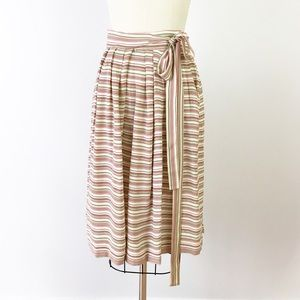 Vintage Striped Tie Waist Skirt Pockets Midi M129